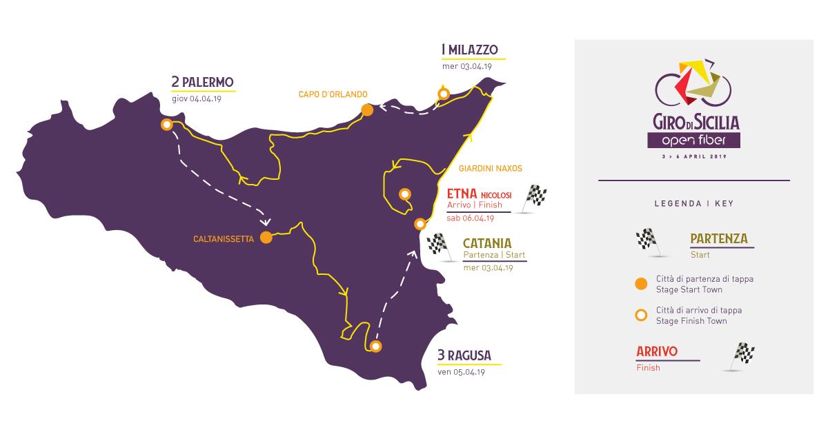 Mappa del Giro di Sicilia
